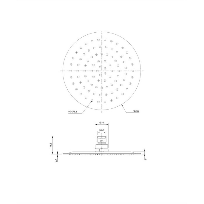 Верхний душ OMNIRES WGU120CR D=20 см (хром)