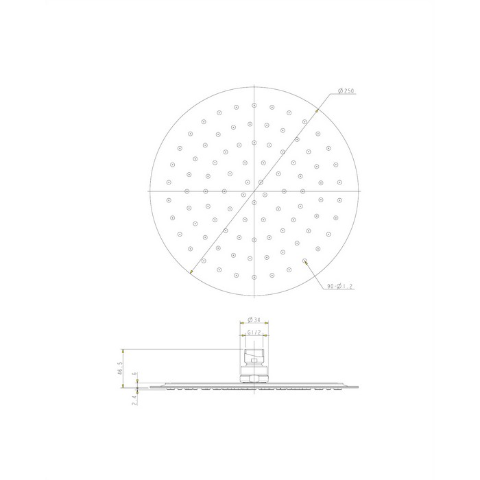 Верхний душ OMNIRES WGU125CR D=25 см (хром)