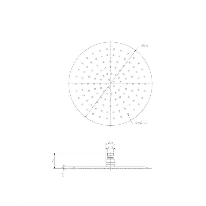 Верхний душ OMNIRES WGU130CR D=30 см (хром)