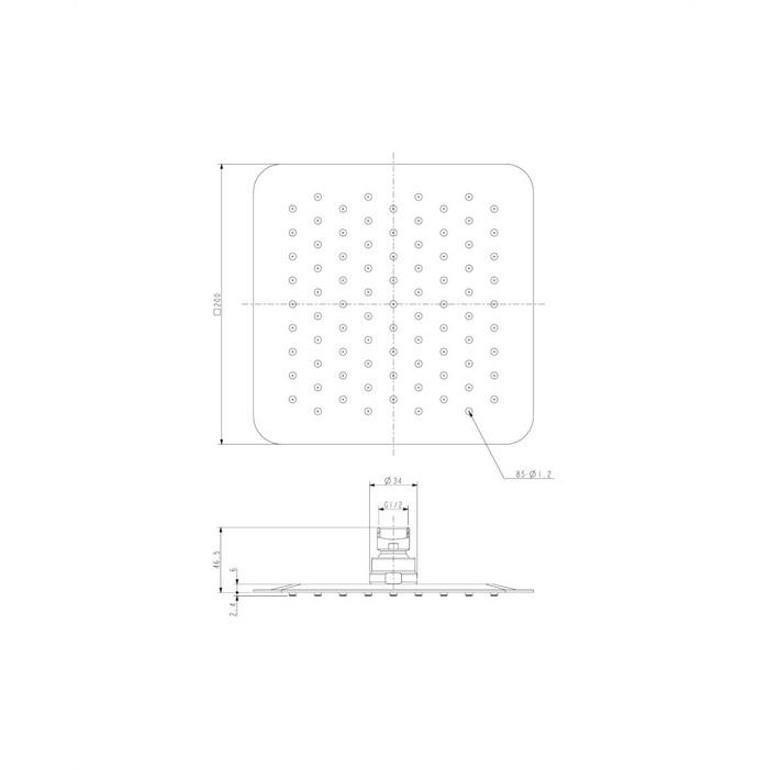 Верхний душ OMNIRES WGU220CR 20х20 см (хром)
