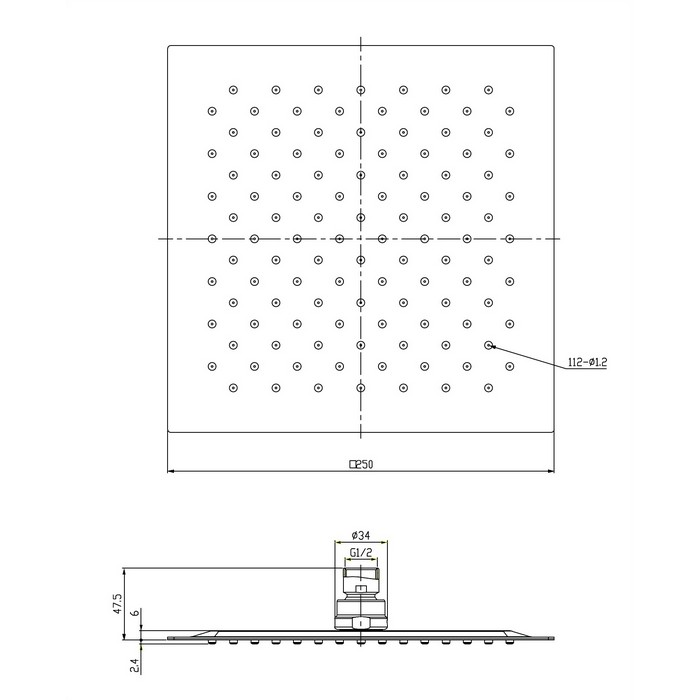 Верхний душ OMNIRES WGU225/KCR 25х25 см (хром)