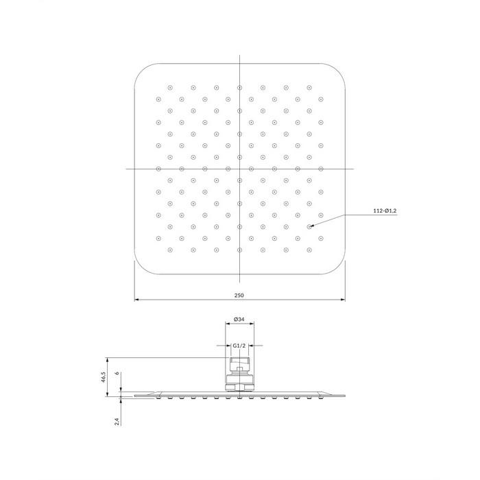 Верхний душ OMNIRES WGU225CR 25х25 см (хром)