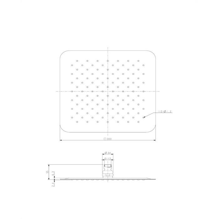 Верхний душ OMNIRES WGU230CR 30х30 см (хром)