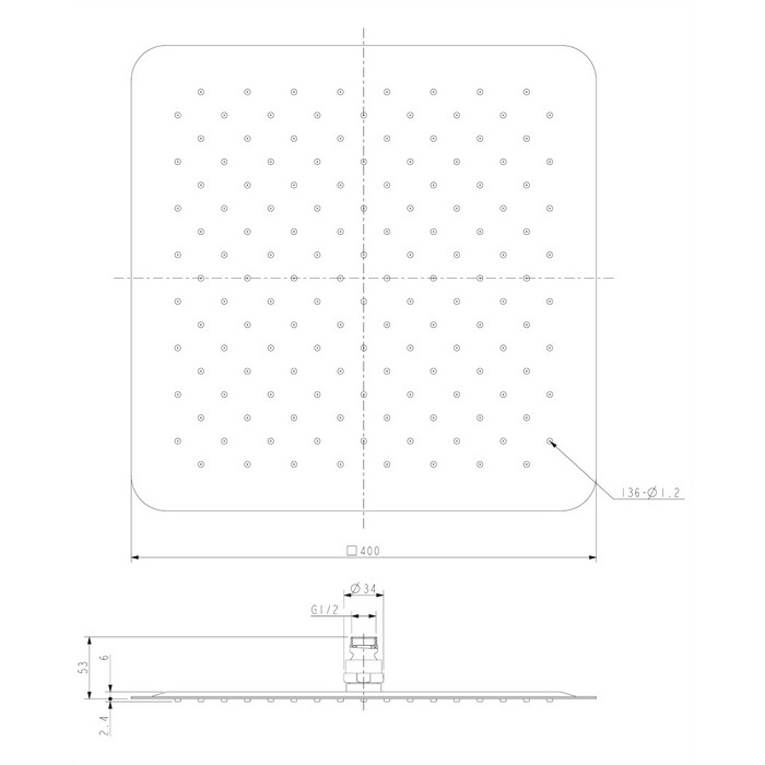 Верхний душ OMNIRES WGU240CR 40х40 см (хром)