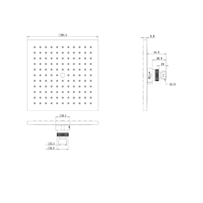 Верхний душ OMNIRES WGX220CR 20х20 см (хром)