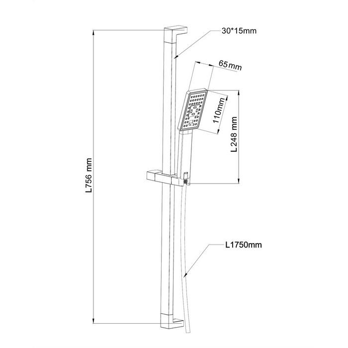Душевой гарнитур на штанге OMNIRES JIMJIM-SGR (графит)