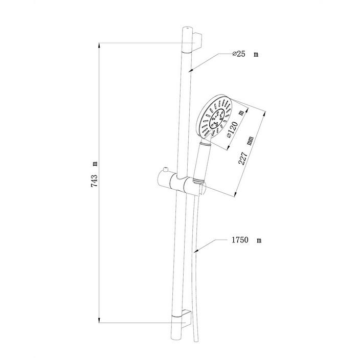Душевой гарнитур на штанге OMNIRES NEVADA-SCRB (хром/белый)