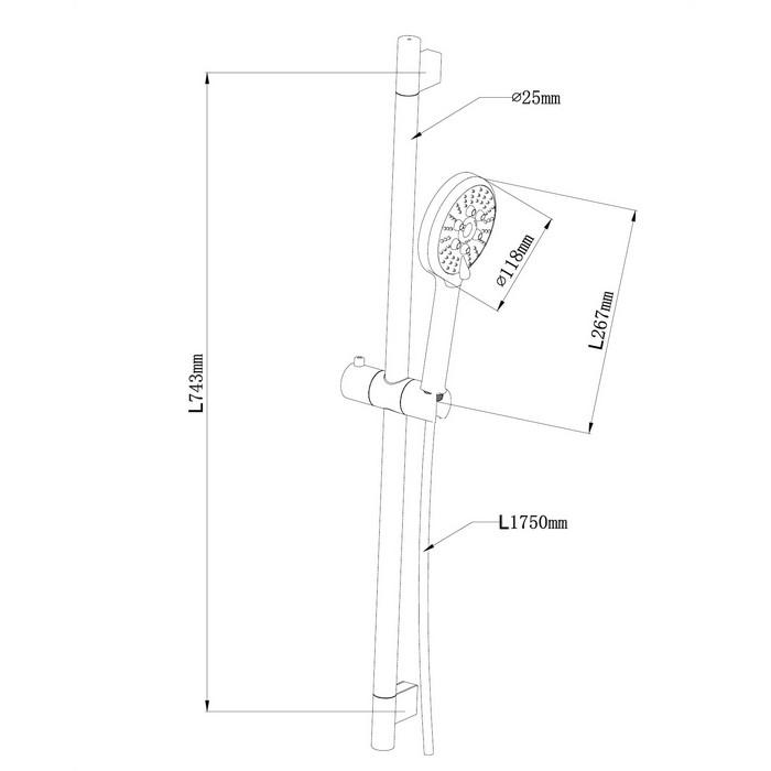 Душевой гарнитур на штанге OMNIRES RIBBON-SCR (хром)