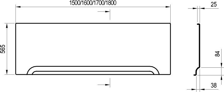 Передняя панель для ванны Ravak A U 170 см белая CZ001V0A00