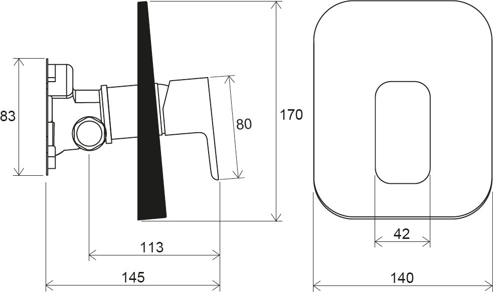 Смеситель встроенный для душа без переключателя для R-box Ravak TD F 066.00