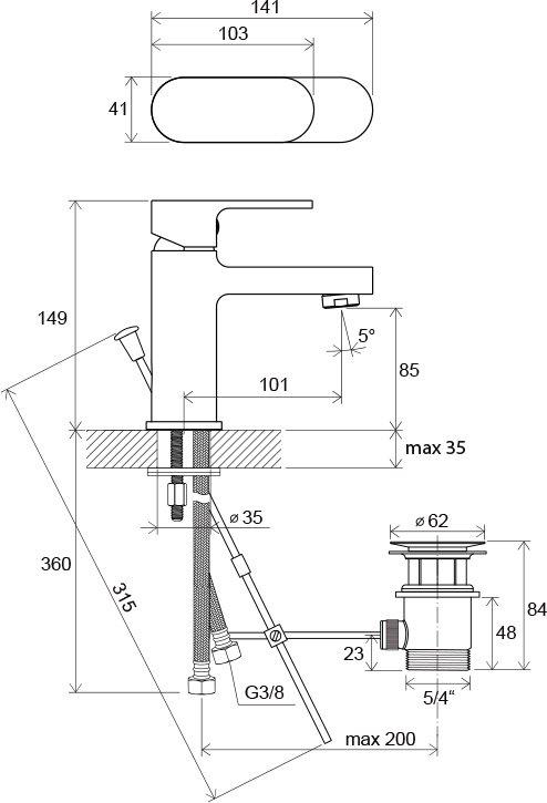Смеситель для умывальника с донным клапаном Ravak CR 011.00