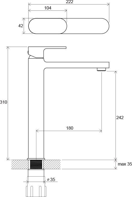 Смеситель для умывальника Ravak CR 015.00 высокий