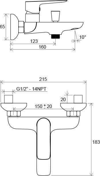 Смеситель для ванны Ravak CL 022.00/150 150 мм