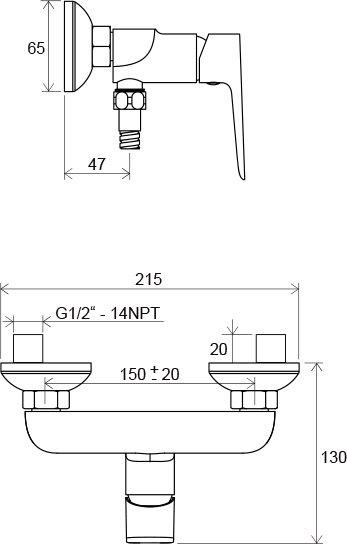 Смеситель для душа Ravak CL 032.00/150 150 мм