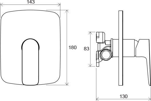 Смеситель встроенный для душа без переключателя для R-box Ravak CL 066.00