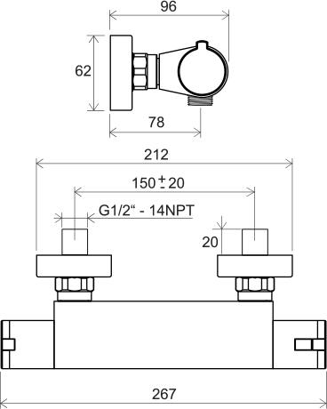 Смеситель настенный термостатический для душа без гарнитуры Ravak TE 072.00/150