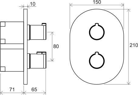 Смеситель термостатический скрытого монтажа для R-box multi, 3 вывода Ravak CR 067.00