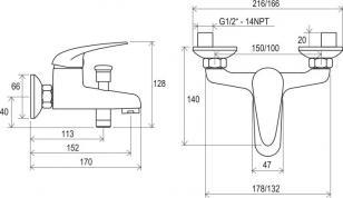 Смеситель для ванны без лейки Ravak SN 022.00/100_1