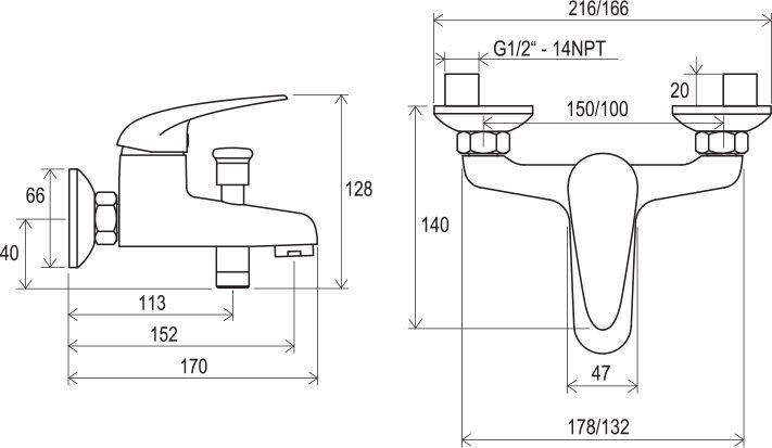 Смеситель для ванны без лейки Ravak SN 022.00/100