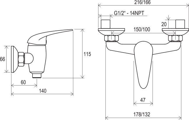 Смеситель настенный для душа без гартитуры 100 мм Ravak SN 032.00/100