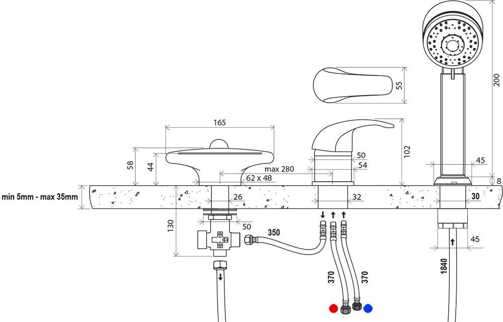 Смеситель врезной каскадный для ванн Ravak RS 025.00