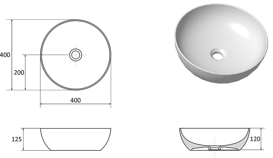 Керамический умывальник Ravak UNI 400 B SLIM