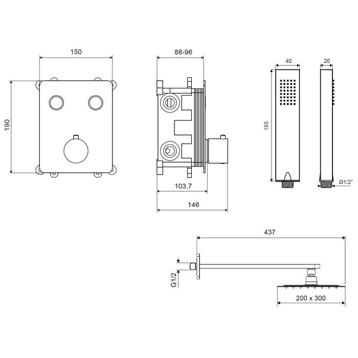 Термостатическая душевая система скрытого монтажа EXCELLENT Krotos AREX.SET.8045BL (черный мат)