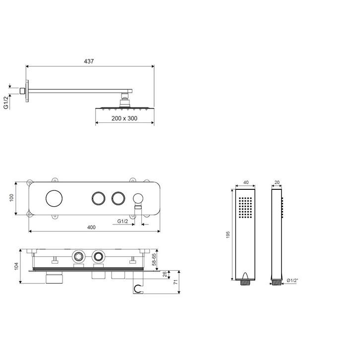 Система для душа скрытого монтажа EXCELLENT Krotos AREX.SET.8035CR (хром)