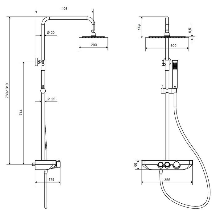 Система для душа наружного монтажа EXCELLENT Rain Krotos AREX.8080CR (хром)