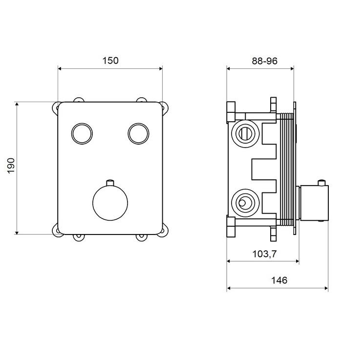 Смеситель термостатический для ванны и душа скрытого монтажа EXCELLENT Krotos AREX.8045CR (хром)