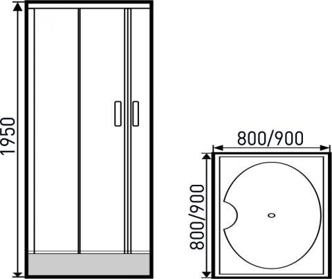 Golden Frog Душевой угол SRGF-094 800x800X1950 мм