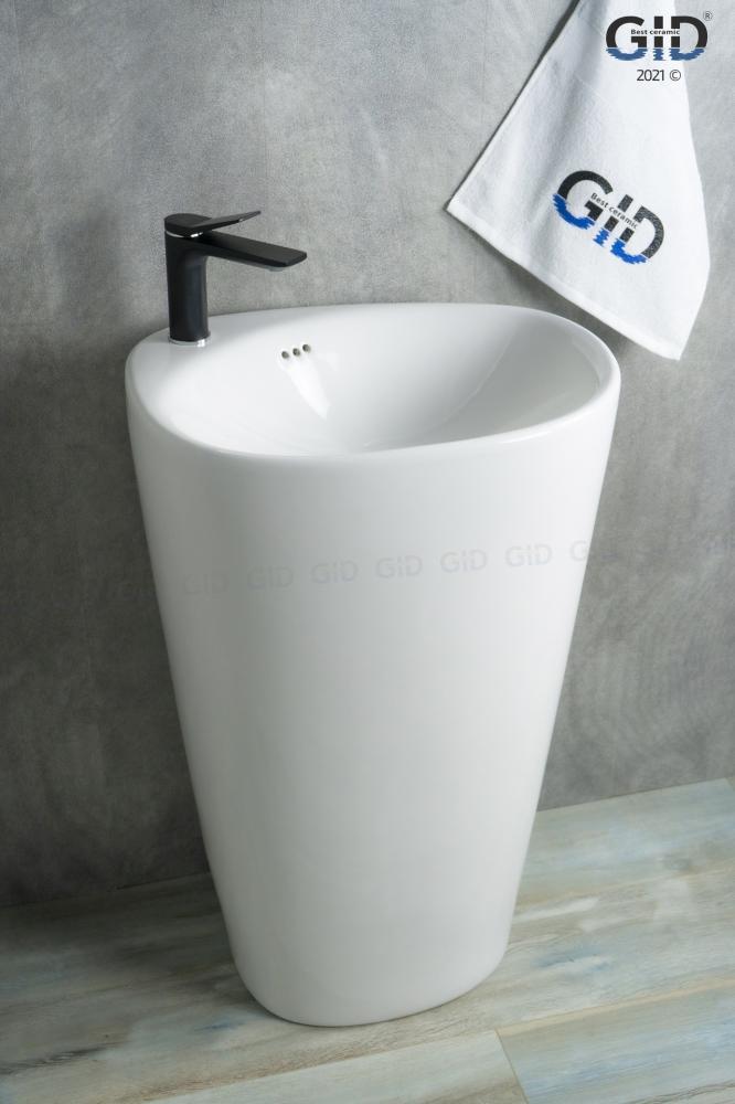 Напольная белая раковина для ванной Gid Nb188