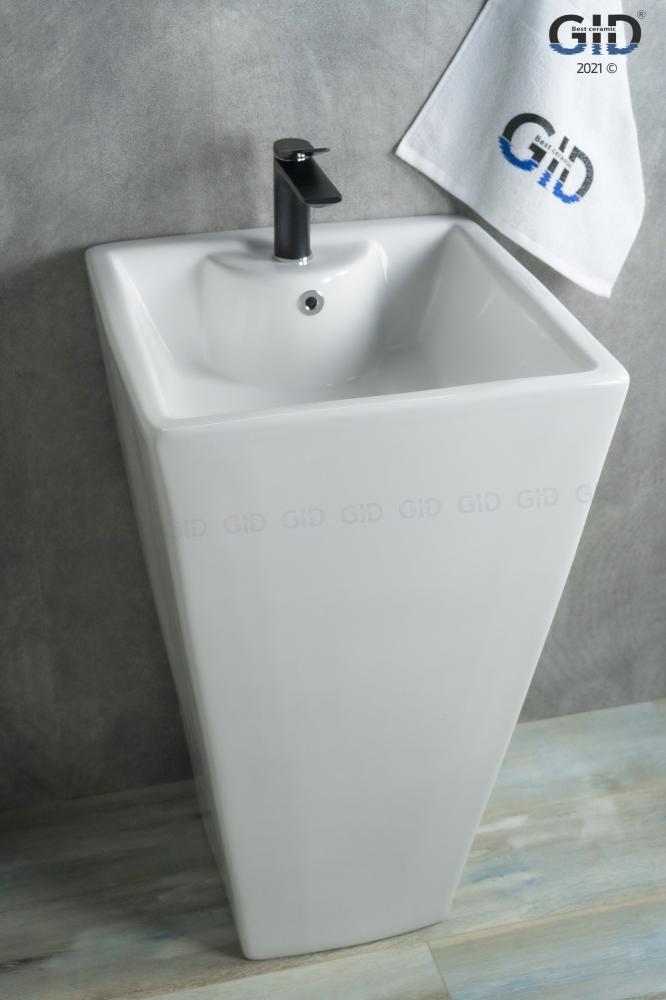 Напольная белая раковина для ванной Gid Nb145