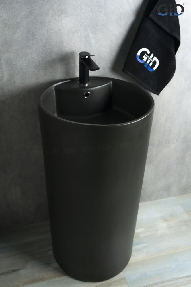 Напольная черная раковина для ванной Gid Nb135bg