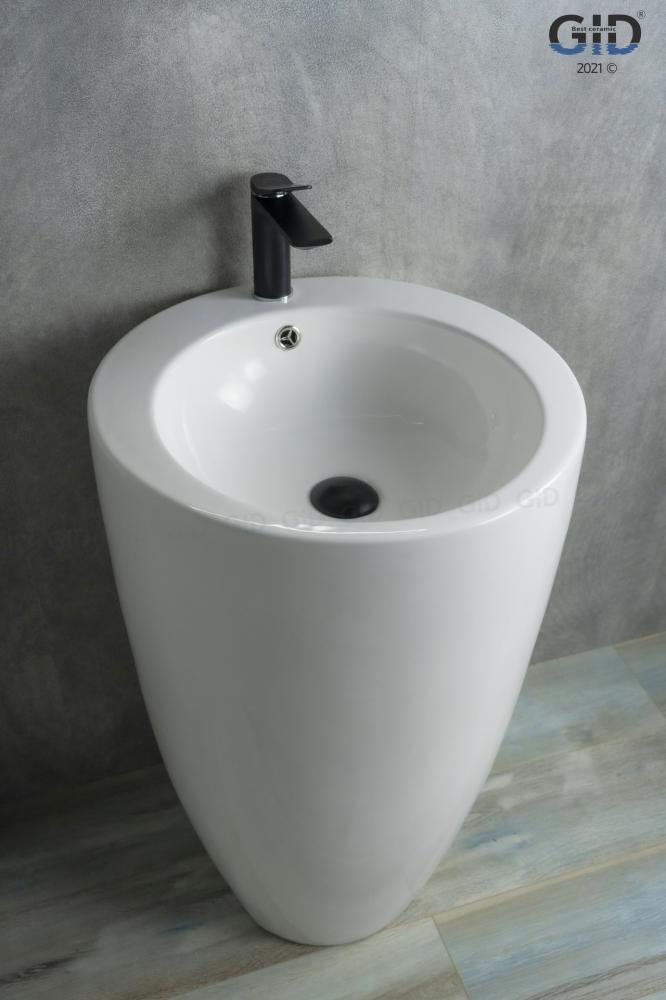Напольная белая раковина для ванной Gid Nb133