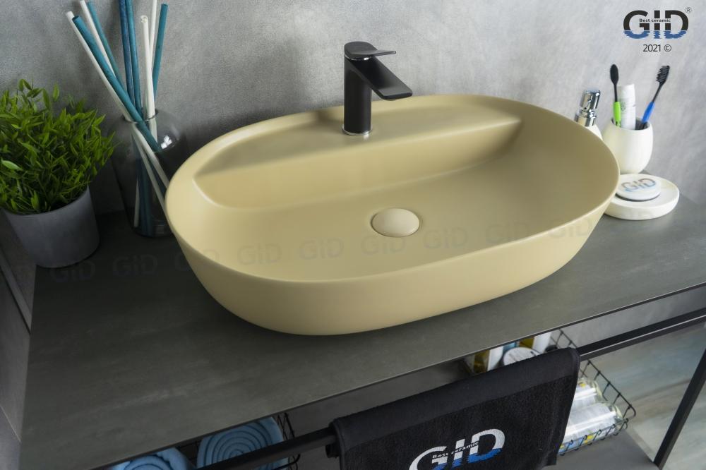 Накладная светло-коричневая матовая раковина для ванной Gid Sr1346