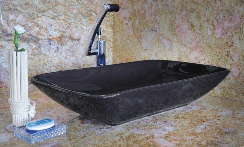 Накладная цветная раковина для ванной Gid Nc385-1 (Черный)