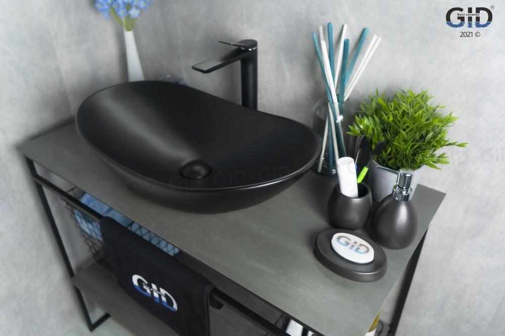 Накладная черная матовая раковина для ванной Gid Bm9811