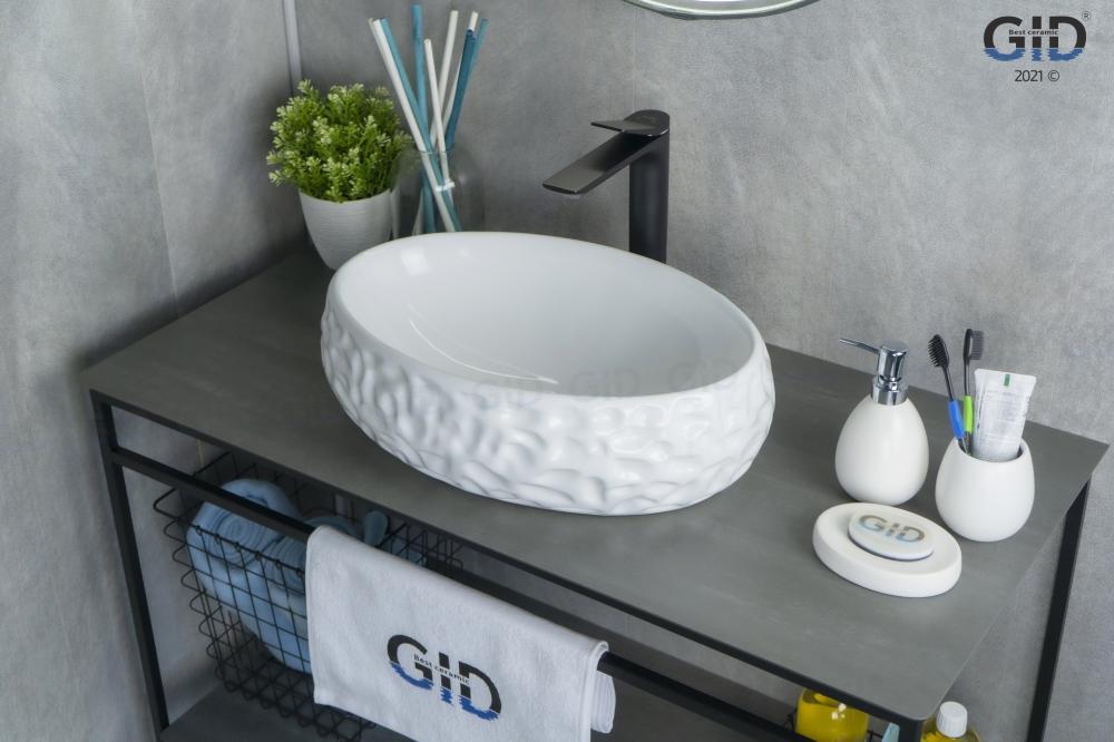 Накладная белая раковина для ванной Gid 9030wf
