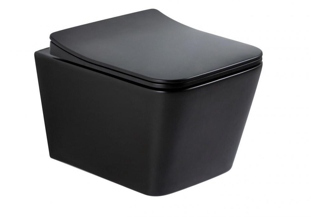 Безободковый подвесной унитаз Gid Tr2144Bm черный матовый с сиденьем-микролифт