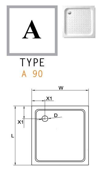 Акриловый поддон CEZARES TRAY-A-A-90-15-W0