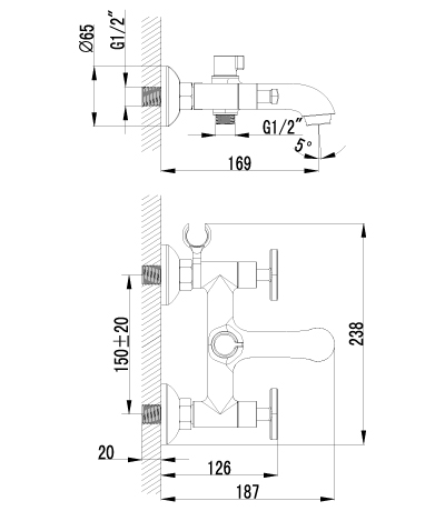 Смеситель для ванны с коротким изливом – LM1812C