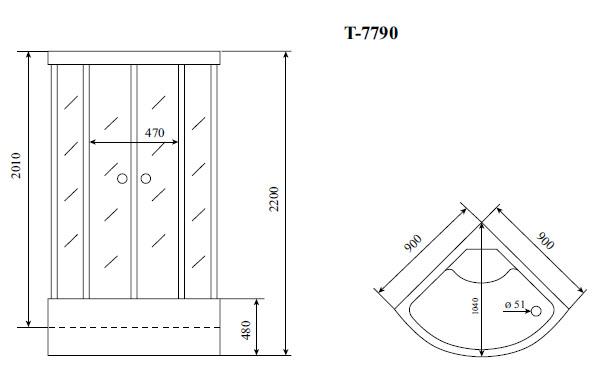 Душевая кабина Timo T-7790 (90*90*220)