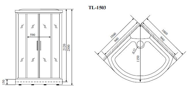Душевая кабина Timo TL-1503 (1020*1020*2300)