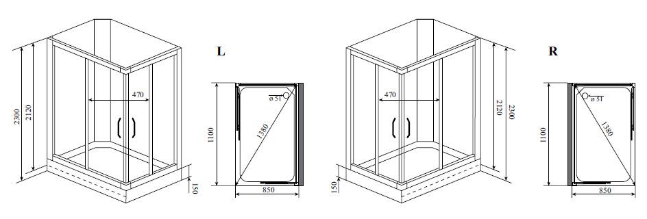 Душевая кабина Timo TL-1504 L (110*85*230)