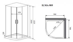 Душевая кабина Timo ILMA 909 (900*900*2225)_1