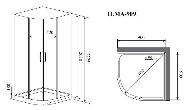 Душевая кабина Timo ILMA 909 (900*900*2225)