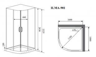 Душевая кабина Timo ILMA 901 (1000*1000*2225)_1