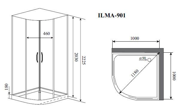 Душевая кабина Timo ILMA 901 (1000*1000*2225)
