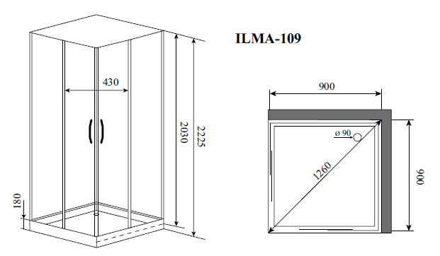Душевая кабина Timo ILMA 109 (900*900*2225)